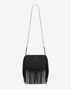 Small MONOGRAM SAINT LAURENT Fringed Crossbody Bag in Black Matelassé Leather
