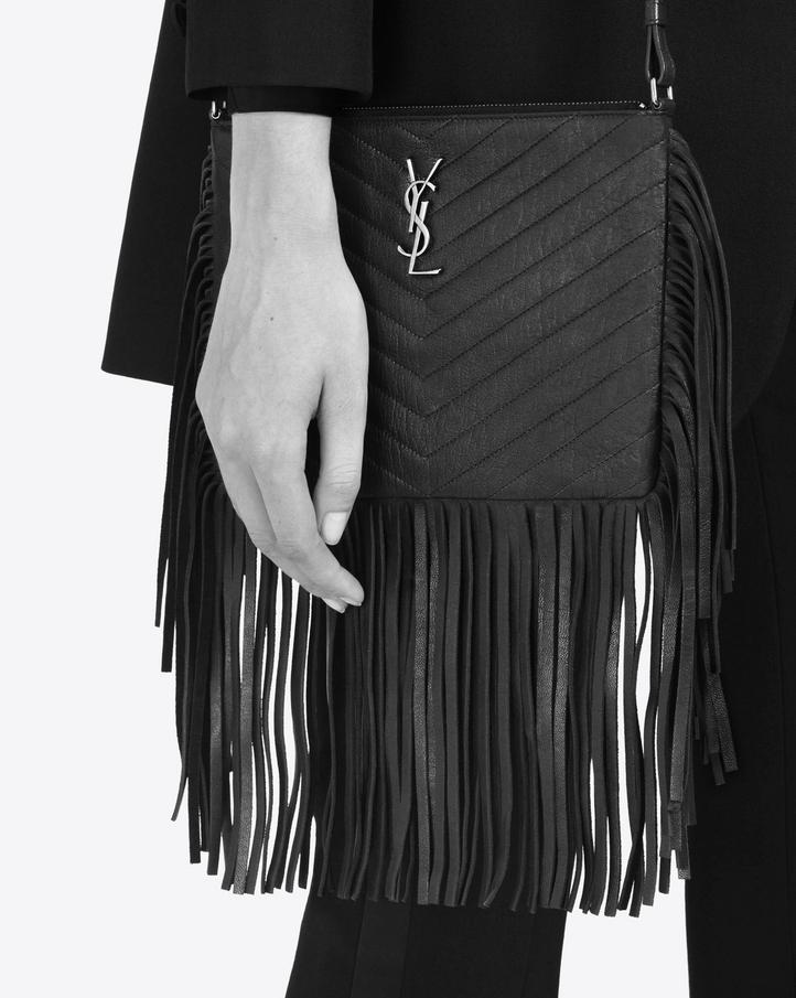 small monogram saint laurent fringed crossbody bag in black leather