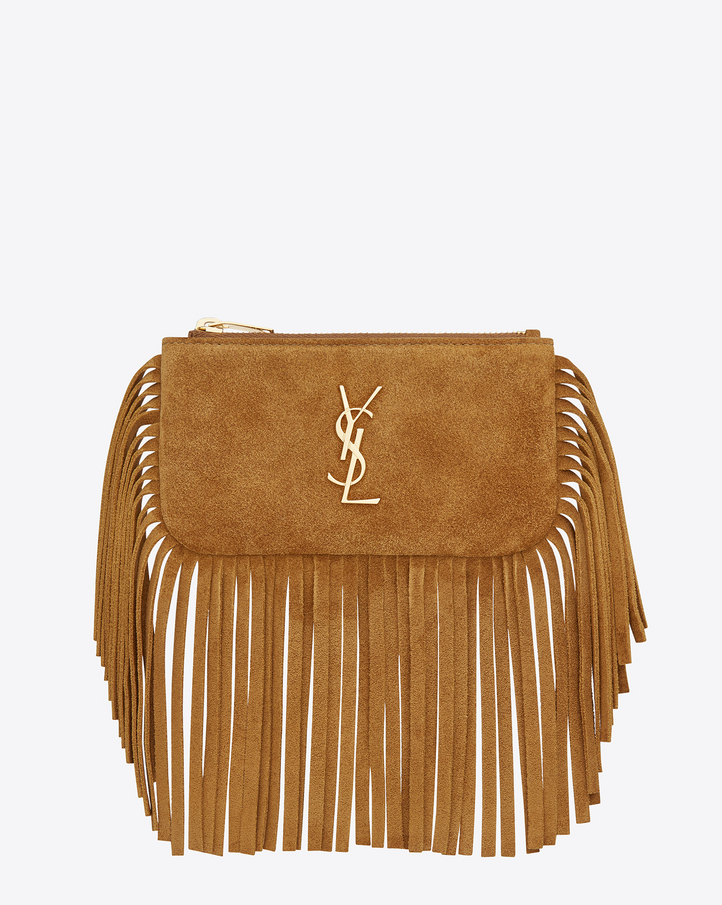 Anita Fringed Flat Bag In Ocher Suede Leather
