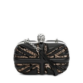 ALEXANDER MCQUEEN, Pouch, Lace Skull Box Clutch with Chain