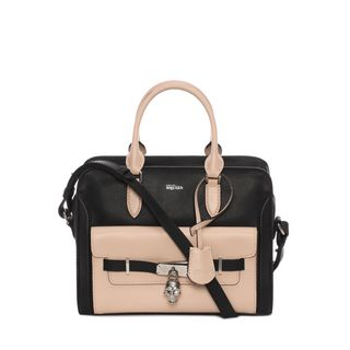 ALEXANDER MCQUEEN, Shoulder Bag, Small Grain Calf Leather Small Zip Around Padlock with Pocket