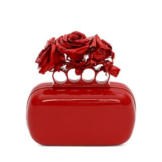 ALEXANDER MCQUEEN, Pouch, Red Patent Knuckle Box Clutch