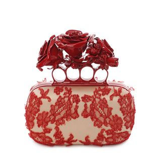 ALEXANDER MCQUEEN, Pouch, Embroidered Dishevelled Lace Knuckle Box Clutch