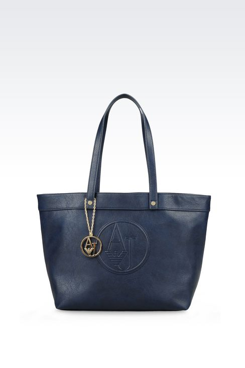 SHOPPING BAG IN FAUX LEATHER WITH CHARM: Shoppers Women by Armani - 1