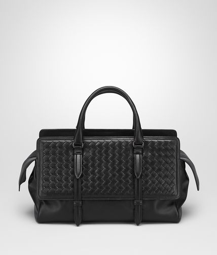 BORSA MONACO MEDIA IN INTRECCIATO NAPPA NERO
