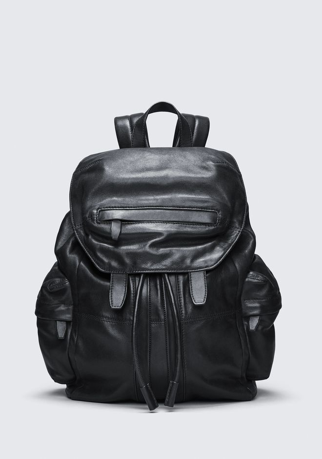ALEXANDER WANG BACKPACKS Men MARTI BACKPACK IN WASHED BLACK WITH MATTE BLACK