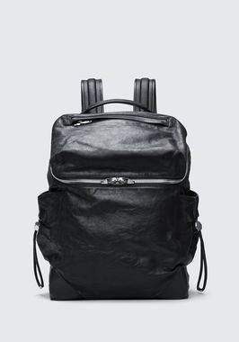 SMALL WALLIE BACKPACK IN WAXY BLACK WITH RHODIUM