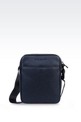Armani Messenger bags Men shoulder bag in grained calfskin