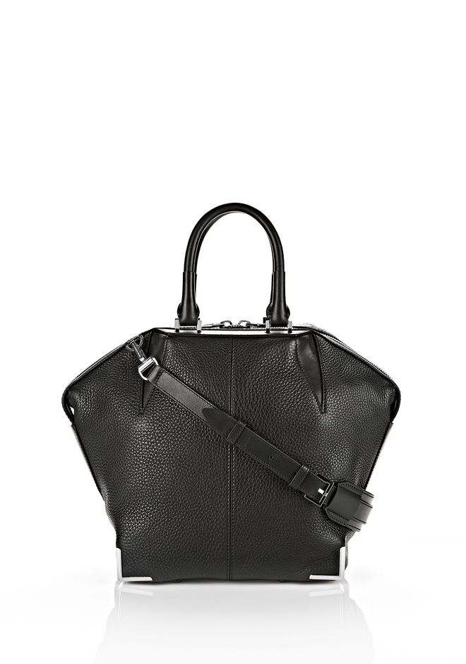 ALEXANDER WANG TOTES Women SMALL EMILE IN PEBBLED BLACK WITH RHODIUM