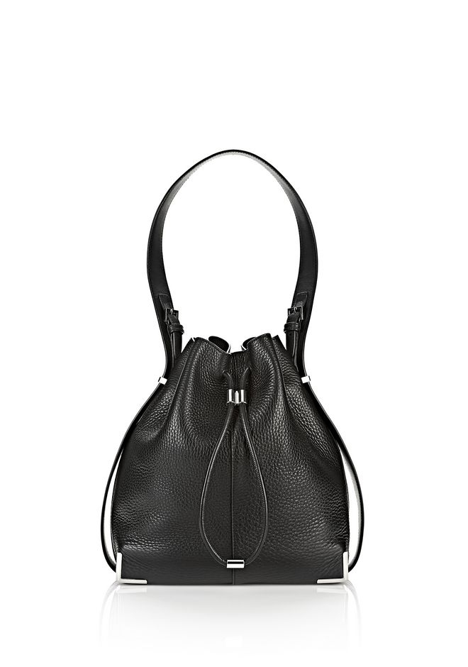 ALEXANDER WANG new-arrivals-bags-woman PRISMA DRAWSTRING HOBO IN BLACK WITH RHODIUM
