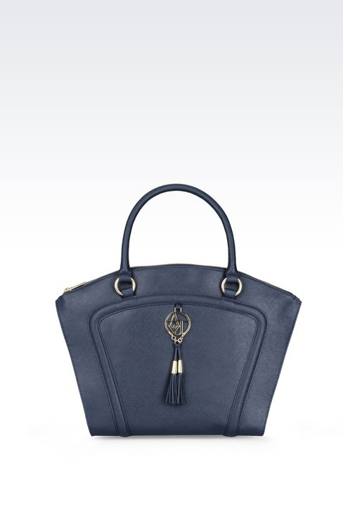 TOTE BAG IN FAUX SAFFIANO WITH TASSELS: Top handles Women by Armani - 1