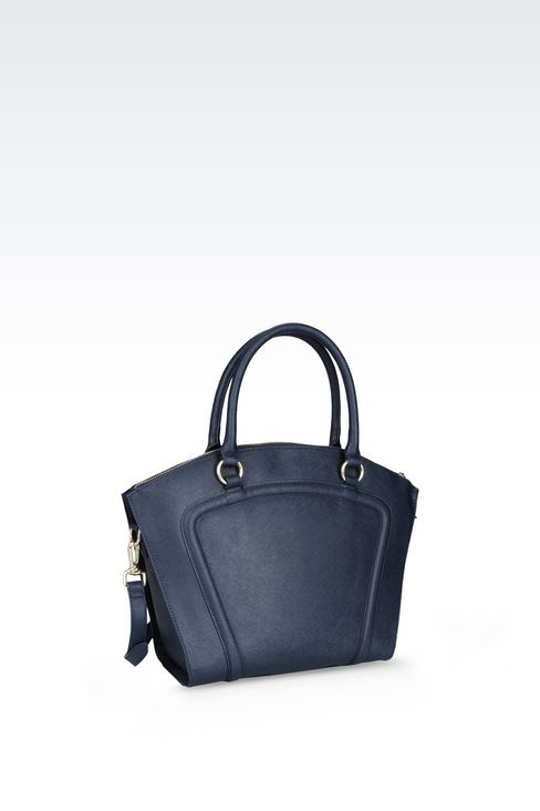 TOTE BAG IN FAUX SAFFIANO WITH TASSELS: Top handles Women by Armani - 2