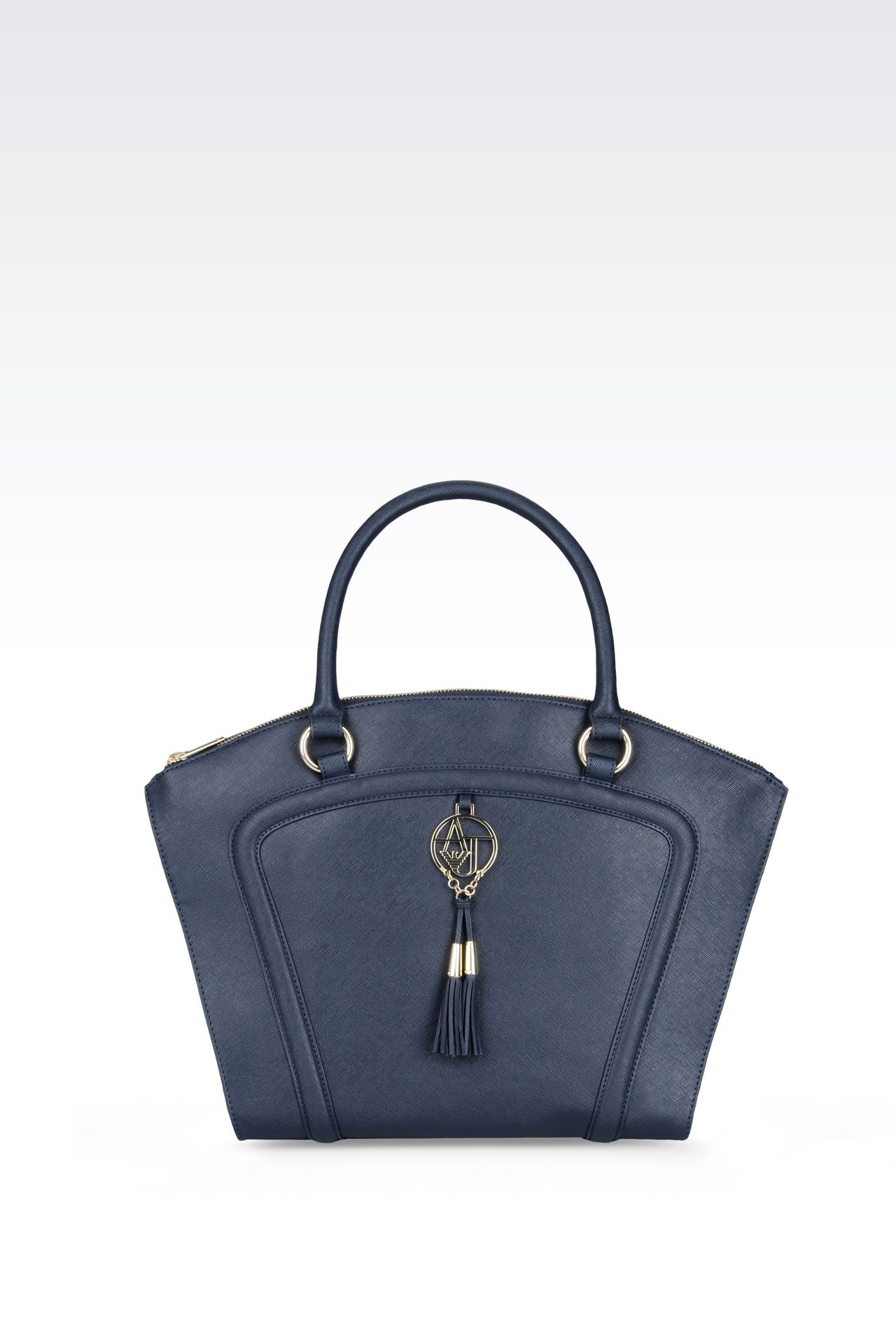 TOTE BAG IN FAUX SAFFIANO WITH TASSELS: Top handles Women by Armani - 0