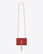 Classic Small Monogram Saint Laurent Tassel Satchel in lipstick red leather