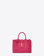 Baby MONOGRAM SAINT LAURENT CABAS Bag in Lipstick Fuchsia Leather