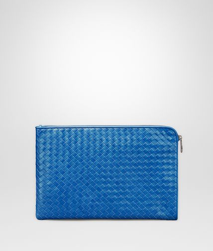 SMALL DOCUMENT CASE IN BLUETTE INTRECCIATO VN
