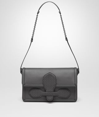 SHOULDER BAG IN NEW LIGHT GREY NAPPA WITH MICROINTRECCIATO DETAILS