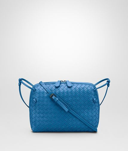 MESSENGER BAG IN BLUETTE INTRECCIATO NAPPA