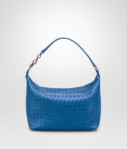 SMALL SHOULDER BAG IN BLUETTE INTRECCIATO NAPPA