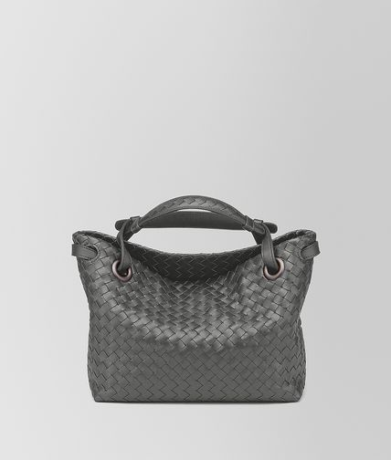 SMALL SHOULDER BAG IN NEW LIGHT GREY INTRECCIATO NAPPA