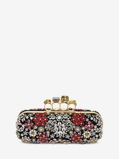 Brooch Embroidered Knuckle Box Clutch