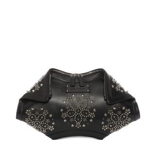 ALEXANDER MCQUEEN, Pouch, Leather and Flower Studs De Manta Clutch