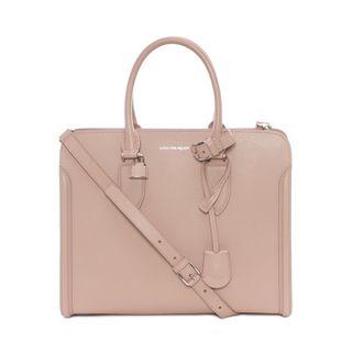 ALEXANDER MCQUEEN, Shopping Bag, Tote Bag Heroine Aperta in Pelle Martellata Effetto Intrecciato