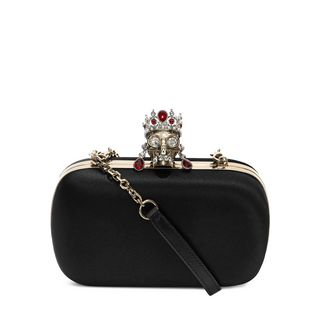 ALEXANDER MCQUEEN, Pouch, Silk Satin and Nappa Classic Skull Clutch with Chain Strap