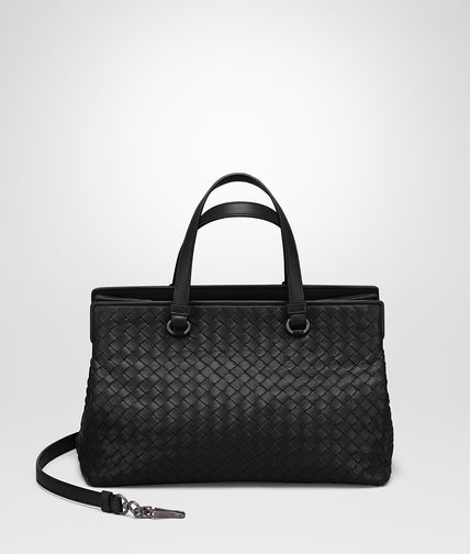 MEDIUM TOP HANDLE BAG IN NERO INTRECCIATO NAPPA