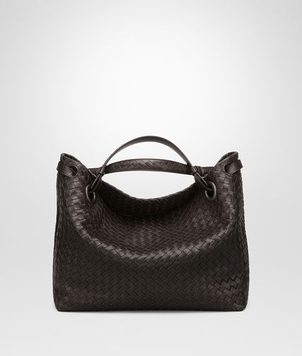MEDIUM SHOULDER BAG IN ESPRESSO INTRECCIATO NAPPA