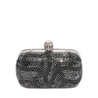 ALEXANDER MCQUEEN, Pouch, Suede and Nappa Classic Skull Clutch with Leather Strap