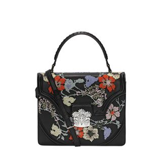 ALEXANDER MCQUEEN, Shoulder Bag, Embroidered Nappa Flower Satchel