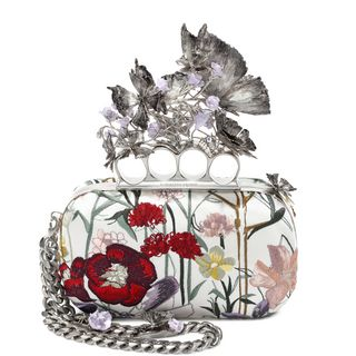 ALEXANDER MCQUEEN, Pouch, Embroidered Flower Knuckle Box Clutch