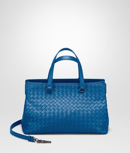 MEDIUM TOP HANDLE BAG IN BLUETTE INTRECCIATO NAPPA