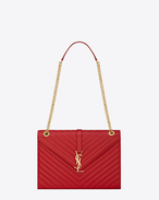 classic large monogram saint laurent satchel in lipstick red grain de poudre textured matelassé leather