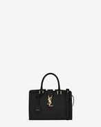 baby monogram saint laurent cabas bag in black leather