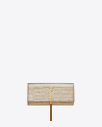 Classic KATE  MONOGRAM SAINT LAURENT tassel clutch in Pale Gold Lizard Embossed Metallic Leather