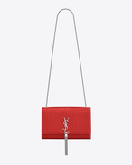 Classic Medium KATE MONOGRAM SAINT LAURENT Tassel Satchel in Red Crocodile Embossed Leather