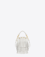 Small EMMANUELLE fringed bucket Bag in Dove White Leather