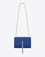 Classic Medium KATE  MONOGRAM SAINT LAURENT Tassel Satchel in Royal Blue Crocodile Embossed Leather