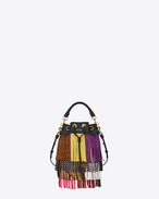 Small EMMANUELLE fringed bucket Bag in Black and Multicolor Leather