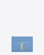 Porte-cartes MONOGRAMME SAINT LAURENT en cuir texturé grain-de-poudre matelassé bleu clair