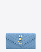 Large MONOGRAM SAINT LAURENT Flap Wallet in Light Blue Grain de Poudre Textured Matelassé Leather