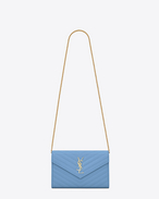 MONOGRAM SAINT LAURENT Chain Wallet in Light Blue Grain de Poudre Textured Matelassé Leather