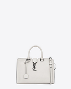 Small MONOGRAM SAINT LAURENT CABAS Bag in Dove White and Black Leather