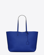 Large SHOPPING SAINT LAURENT tote bag blu ultramarine e nera in pelle