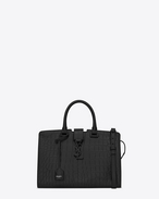 Small MONOGRAM SAINT LAURENT CABAS Bag in Black Crocodile Embossed Leather
