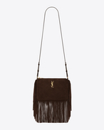 Small MONOGRAM SAINT LAURENT Fringed Crossbody bag in Brown Suede