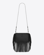 Small MONOGRAM SAINT LAURENT Fringed Crossbody bag in Black Leather