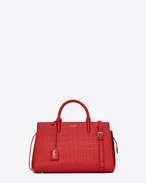 Small CABAS RIVE GAUCHE Bag in Red Crocodile Embossed Leather